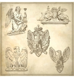 Set of sketch drawing winged element angel and vector