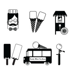 Vintage ice cream items vector image