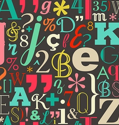Retro color letters seamless pattern background vector