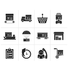 Silhouette logistic cargo and shipping icons vector