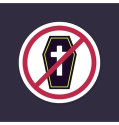 No ban or stop signs halloween coffin icon vector