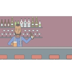 Barman in the pub vector