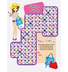 Activity Page Of Fashion Puzzle vector image