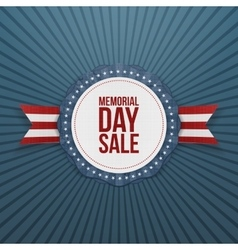 Memorial day sale greeting emblem and ribbon vector