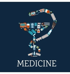 Pharmacy symbol with medical flat icons vector