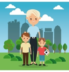 Mother and kids icon family design city vector
