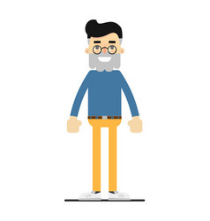 Adult bearded hipster in shirt and pants vector