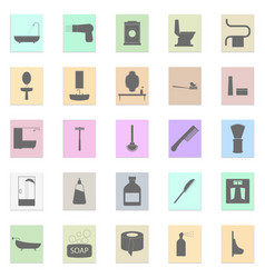 bath accessories set black icon on color vector image