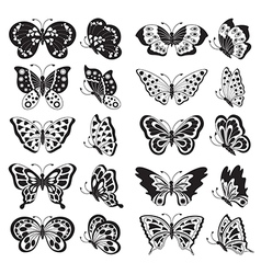 Black butterfly silhouettes vector image vector image