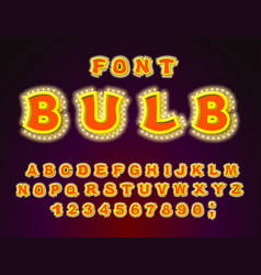 bulb font glowing letters retro alphabet with vector image