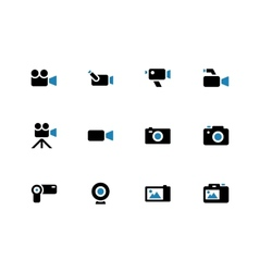 Camera duotone icons on white background vector