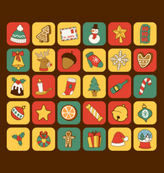 Christmas greeting card stickers symbols vector