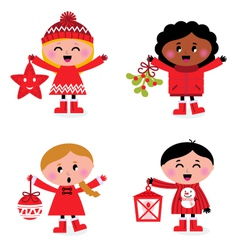 christmas kids collection vector image vector image