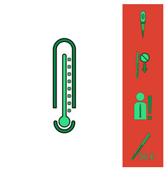 Collection of icons and medical temperatures vector