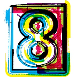 Colorful grunge font number 8 vector