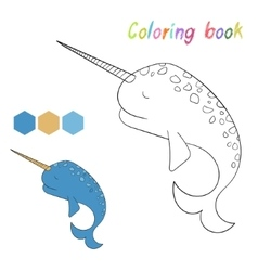 Coloring book narwhal kids layout for game vector