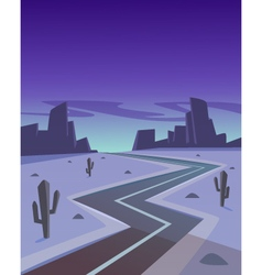 Desert road at night vector