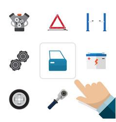 Flat workshop set of motor accumulator ratchet vector