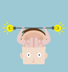 Human brain exercise with fresh bulb idea vector