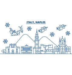 Italy naples winter city skyline merry christmas vector