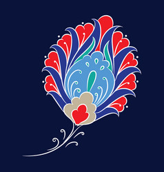 iznik style floral drawing vector image