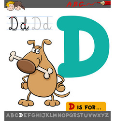 letter d with cartoon dog vector image