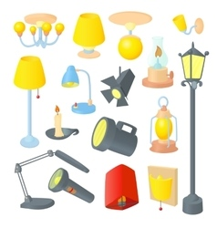 Lighting icons set cartoon style vector image
