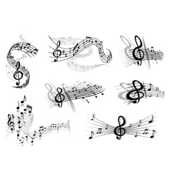 Musical waves with notes and a clef vector image vector image