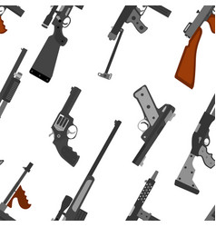 Pattern of guns machine gun rifle revolver pistol vector
