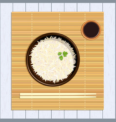 Rice in bowl with chopsticks kitchen bamboo mat vector