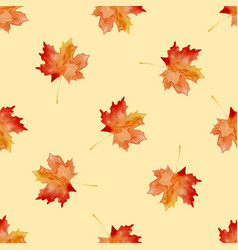 seamless pattern with watercolor autumn leaves vector image