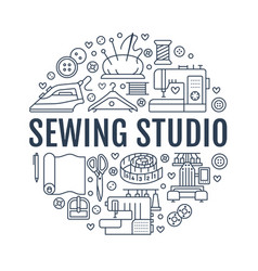 sewing equipment hand made studio supplies banner vector image vector image