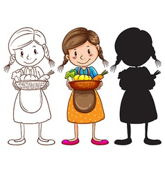 Sketches of a young girl with a basket of fruits vector image