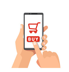 Smartphone with shopping cart on a screen vector