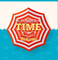 Summer time banner with a beach umbrella vector