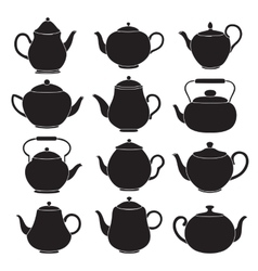 tea pots silhouettes vector image vector image