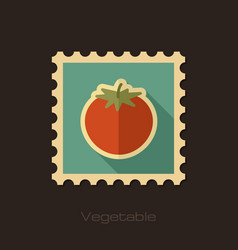 tomato flat stamp vegetable vector image vector image