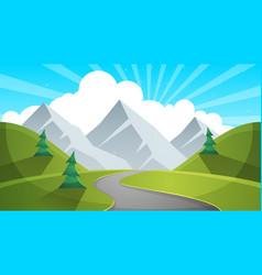 Travel day cartoon landscapen mountain fir road vector
