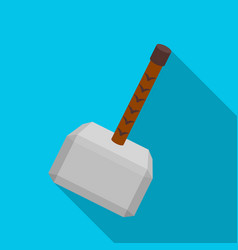 Viking battle hammer icon in flate style isolated vector