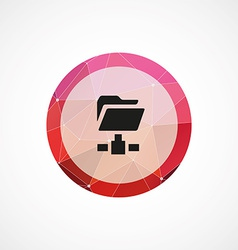 Web folder circle pink triangle background icon vector