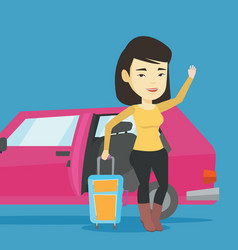 Young asian woman traveling by car vector