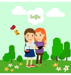 Two girls taking selfie vector