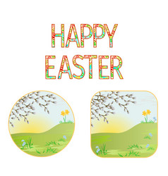 Buttons happy easter spring meadow vector