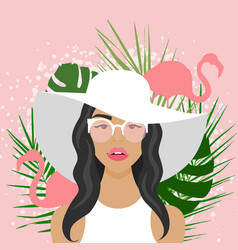 With beautiful woman with hat vector