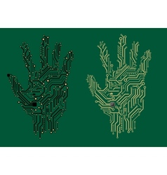 Hand prints with electrical circuit boards vector