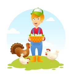 Farmer woman with chicken vector