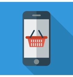 Phone with shopping basket vector