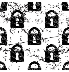 Locked padlock pattern grunge monochrome vector