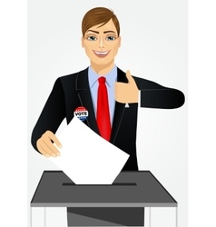 Businessman putting ballot in vote box vector