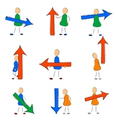 Icon set man with arrow vector
